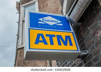 Euronet Worldwide ATM Sign At Amsterdam The Netherlands 2018