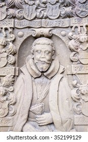 Europa, Germany, Bad Wildungen-1, Dezember, 2015: Bas-relief of a historical figure.