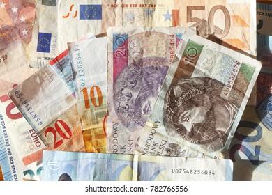Europan currencies,  Different   Bills  , Money