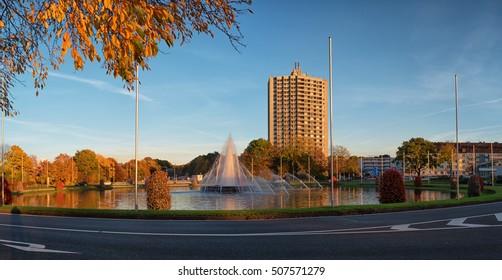 Europaplatz in Aachen during autumn