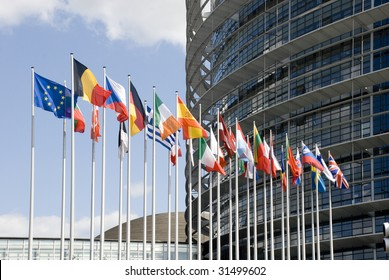 Europarliament. Flags of the countries of the European Union at an input in Europarliament