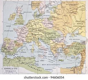 Europe in 1270 old map. By Paul Vidal de Lablache, Atlas Classique, Librerie Colin, Paris, 1894