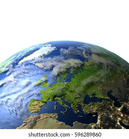 Europe. 3D illustration with detailed planet surface. Elements of this image furnished by NASA.