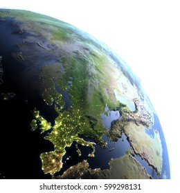 Europe. 3D illustration with detailed planet surface and visible city lights. Elements of this image furnished by NASA.