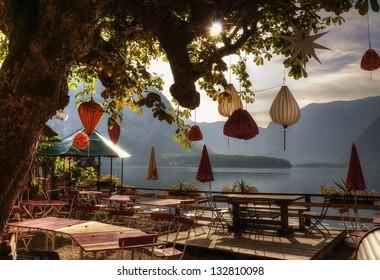 Europe, Austria, the Alps, Hallstatt, alpine lake, clean water, town, restaurant,cafe , morning,