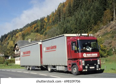 Europe Austria Karnten Kirchbach 2008. Commercial container lorry parked in layby. Austrian company logo.
