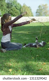 Europe Austria Kirchbach 2003. Young Caucasian adolescent girl playing with a grey domestic cat. Outside on grass meadow. Summer day. Sunshine.