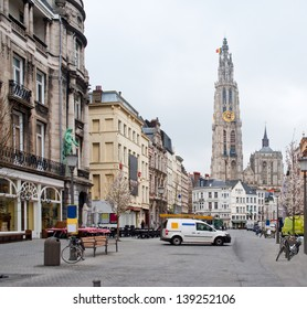 Europe, Belgium. Antwerp. View of the Cathedral of the Sacred Mother of God.
