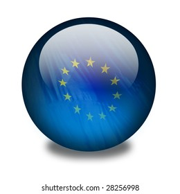 Europe. A blue shiny orb or sphere with a flag inside. European flag. Clipping path with the orb (without the drop shadow) included.