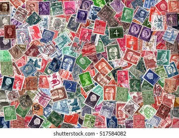 EUROPE - circa 1950-2000: Horizontal background of definitive European postage stamps, including stamps from Germany, the UK, Italy, France, the Netherlands, etc