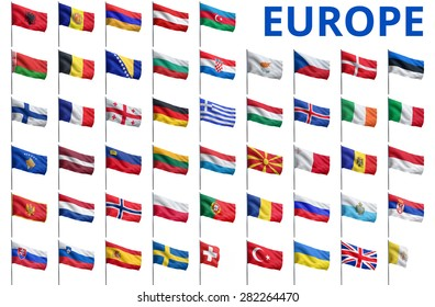 Europe countries flags. All European flags isolated on white.