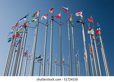 europe countries flags arranged in a circle on blue sky