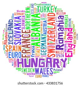 Europe countries in Typography word cloud concept