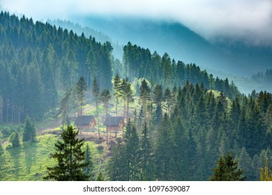 Europe, country Slovakia, locality of Liptov. Beautiful mountain forests over the village of Liptovsky Jan. Recreational wooden cottages built in mountain forests.