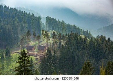 Europe, country Slovakia, locality of Liptov. Beautiful forests Low Tatras mountain over the village of Liptovsky Jan. Recreational wooden cottages built in mountain forests.