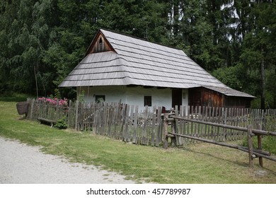 Europe, country Slovakia. Museum of the Slovak village open air museum, in the city of Martin, region of Turiec. The old historical wooden hous.