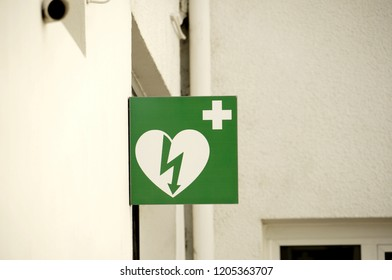 Europe defibrillator sign in street. Automated external defibrillator sign.