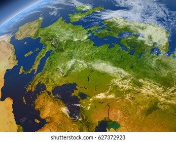 Europe from Earth's orbit in space. 3D illustration with detailed planet surface, mountains and atmosphere. Elements of this image furnished by NASA.