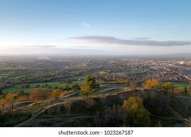 Europe, England, Gloucestershire, Cotswolds, Leckhampton Hill, evening sun, view over Cheltenham