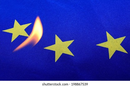 Europe Flag in Fire.