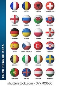 Europe football 2016. Set of soccer balls with flags. 3D render