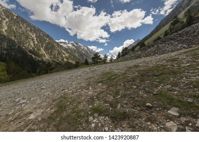 Europe, France, High Mountains, 2019-06, One the many ski slopes leading to the Gaube Lake in the French Pyrenees mountains during Summer.  T