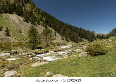 Europe, France, Pyrenees, 05-2019, Water streams from melting snow cut through a valley in the mountains of French Pyrenees,