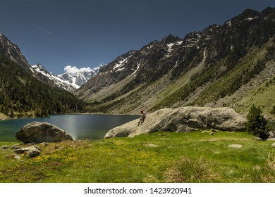 Europe, France, Pyrenees, 06-2019, Gaube Lake  is a lake in the French Pyrenees, in the department of the Hautes-Pyrénées, near the town of Cauterets. Landscape with high mountains and snow