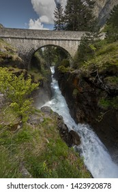 Europe, France, Pyrenees, 06-2019,  Waterfall near the Bridge of Spain, (Pont d'Espagne) Situated a 1500 meters in the national park of the Pyrenees mountains,