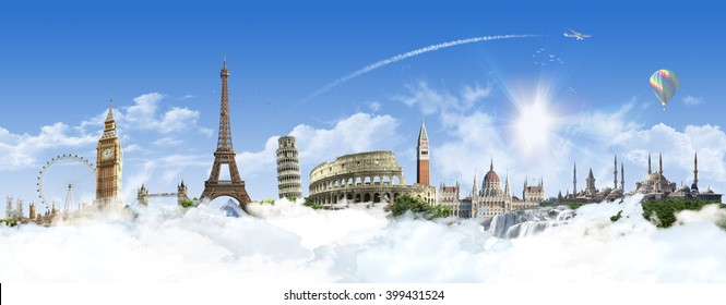 Europe Heaven - Summer travel - sunny landscape background with famous landmarks and grassy hill over clear blue sky - great for posters, cards or banners (all composition elements shot by myself)