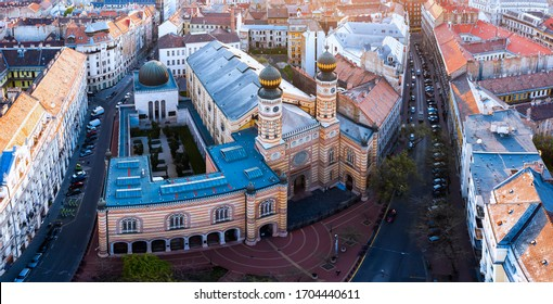 Europe Hungary Budapest Jewish synagogue on the Dohany street. This place is a monumet for second world war Jewish victims. Aerial view. Popular historical tourist attraction in th city