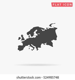 Europe Icon Illustration. Flat simple grey symbol on white background with shadow.