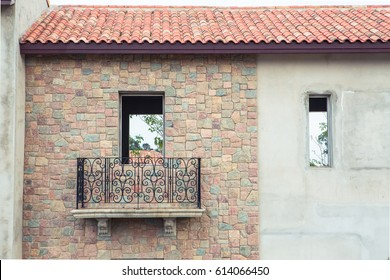 Europe Italian style stone house building with arch and windows