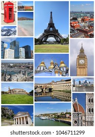 Europe landmarks collage - tourism attractions montage including Paris, Florence, Rome, London, Barcelona, Kiev, Warsaw, Serbia and Greece.