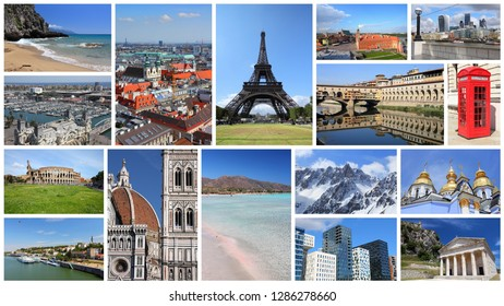 Europe landmarks postcard - tourism attractions collage including London, Oslo, Paris, Rome, Florence, Vienna, Belgrade, Kiev, Warsaw and Alps.