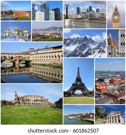 Europe landmarks set - tourism attractions collage including London, Oslo, Paris, Rome, Florence, Vienna, Belgrade, Kiev, Greece and Alps.