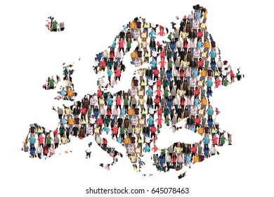Europe map multicultural group of people integration immigration diversity isolated