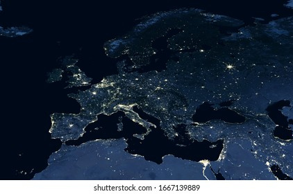 Europe map, view of city lights on night Earth in global satellite photo. EU, Russia, Mediterranean and Middle East in dark, part of World taken from space. Elements of this image furnished by NASA. - Shutterstock ID 1667139889
