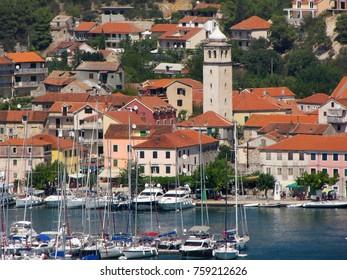 Europe. Mediterranean area.  Adriatic sea. Croatia. Dalmatia.  Krka - lower flow. Skradin city. Summer 2013.
