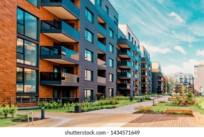 Europe modern complex of residential apartment buildings complex condo. And outdoor facilities. Mixed media.