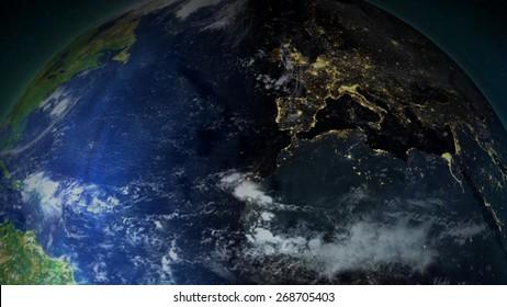Europe At Night Closeup (Map provided by NASA)