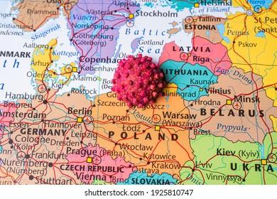 Europe on coronavirus map background