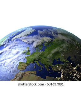 Europe on model of Earth. 3D illustration with realistic planet surface and visible city lights. Elements of this image furnished by NASA.