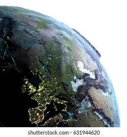 Europe on model of planet Earth at dawn. 3D illustration with white background. Elements of this image furnished by NASA.