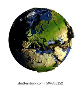 Europe on planet Earth with exaggerated surface features including ocean floor. 3D illustration isolated on white background. Elements of this image furnished by NASA.