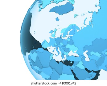 Europe on translucent model of planet Earth with visible continents blue shaded countries. 3D rendering.