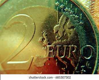 Europe on the two-euro coin The euro card of a two-euro coin as a cut-out.