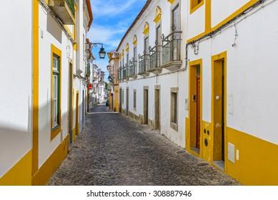 Europe, Portugal, Alentejo- Traditional street view of evora city
