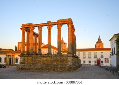 "Europe, Portugal, Alentejo- View of ""diana temple"" in the city of evora at sunset"