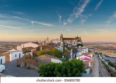 "Europe, Portugal, Alentejo-Panoramic view of the small village of Monsaraz at sunset near ""Alqueva"" dam"